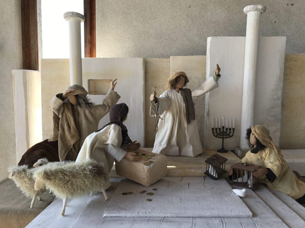 Tempelreinigung. Jesus vertreibt die Händler aus dem Tempel. Dies ist ein Haus Gottes. Ihr habt es zur Räuberhöhle gemacht. Musik aus den Rosenkranzsonaten von Biber.